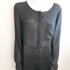 H&M Black Semi-Sheer Button Down Tunic Top